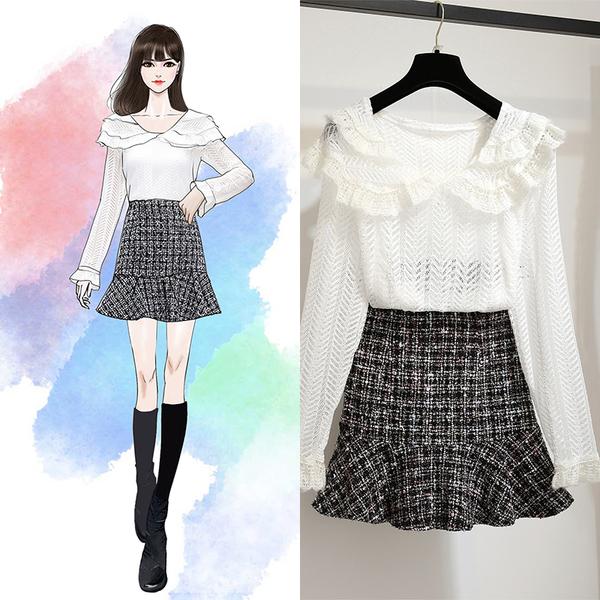 超殺出清 韓系蕾絲衫名媛魚尾半身裙套裝長袖裙裝