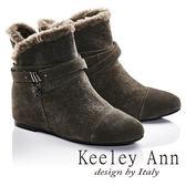 ★2016秋冬★Keeley Ann異國情懷~絨毛滾邊皮帶環釦造型真皮內增高短靴(豆沙色)