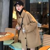 DE shop - 毛呢外套女中長款寬鬆呢子外套女秋冬氣質百搭妮子大衣(D-888)