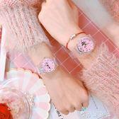 原宿風可愛少女心小清新粉色個性創意女中學生透明手錶閨蜜石英錶   薔薇時尚