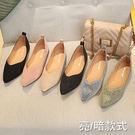 尖頭低跟鞋日韓尖頭布面甜美OL低跟娃娃鞋包鞋【02S9565】