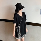 長款上衣 網紅中長款黑色短袖T恤女裝夏季韓版寬鬆設計感開叉上衣 晶彩 99免運