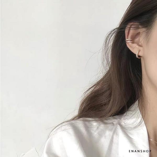 惡南宅急店【0491D】925純銀水鑽耳環 耳骨夾 無耳洞可 韓國氣質 耳環 圈圈耳環