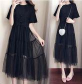 韓版時尚短袖洋裙XL-5XL中大碼22514/胖mm加肥加大夏裝新款鏤空兩件套連衣裙皇潮天下黑色