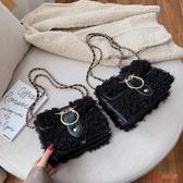 毛絨包包 ins時尚小包包女秋冬季新款百搭單肩羊羔毛毛絨鍊條斜背包潮 5色