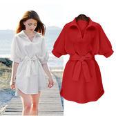 批發搶購3件9折383短袖洋裝女裝時尚寬松襯衫連身裙白色中袖休閑V領打底裙G612D朵維思