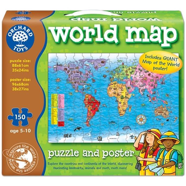 【英國 Orchard Toys】遊戲拼圖-世界地圖 OT-280