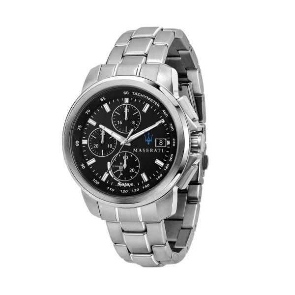 【Maserati 瑪莎拉蒂】SUCCESSO光動能紳士三眼計時鋼帶腕錶-亮銀款/R8873645003/台灣總代理享兩年保固