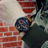 歐美大表盤復古手表男士軍表真皮帶潮男學生表戶外飛行員手表【潮咖地帶】
