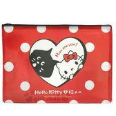 〔小禮堂〕Hello Kitty x NYA 網格拉鍊資料袋《紅.探頭.愛心》收納袋.文件袋 4714581-06612