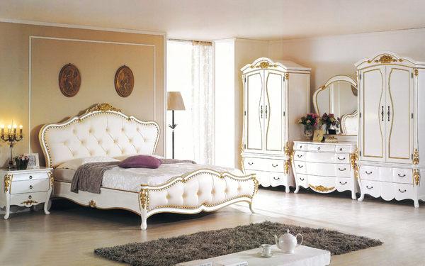 【森可家居】艾麗絲6尺法式象牙白金邊雙人床加大 7JF003-1 古典宮廷風 桃花心木