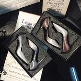 高跟鞋 銀色細跟尖頭單鞋側空水晶鞋高跟婚鞋新娘鞋 巴黎春天