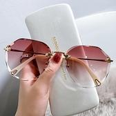 2021年新款時尚無框切邊墨鏡女士網紅款防紫外線太陽眼鏡顯瘦潮女 一米陽光