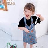 小女孩夏季牛仔吊帶裙寶寶小熊印花休閒工裝裙洋裝韓版洋氣女童洋裝 米娜小鋪