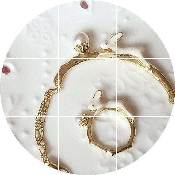star 童話系列- 珍珠滴油可愛玉兔戒子-A17