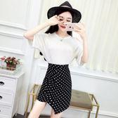 套裝女夏2018新款韓版氣質露肩短袖上衣T恤 波點高腰不規則半身裙