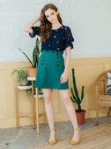 秋裝上市[H2O]花朵刺繡五分泡泡袖雪紡上衣-藍/白/淺藍綠色 #8635003