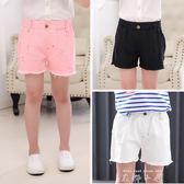 女童短褲外穿夏季薄款小女孩牛仔褲寬鬆童裝兒童褲子夏裝破洞熱褲   米娜小鋪