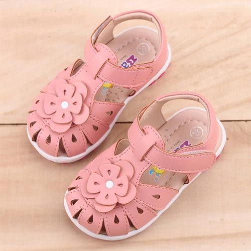 女童 MIT護趾雕花真皮手工 涼鞋 學步鞋 寶寶鞋 嬰兒鞋 粉色 59鞋廊