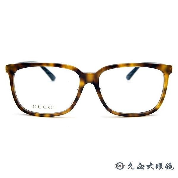 GUCCI 眼鏡 GG0295O 004 (琥珀) 簡約 方框 近視眼鏡 久必大眼鏡