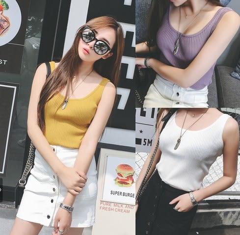 EASON SHOP(GU5209)無袖針織打彈力貼身內搭衫吊帶小背心女顯瘦短款外穿潮女上衣服韓版黑色白色