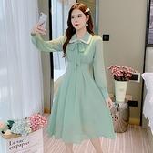 雪紡洋裝 秋季新款小個子法式裙子 複古蝴蝶結長袖雪紡收腰顯瘦連身裙 店慶降價
