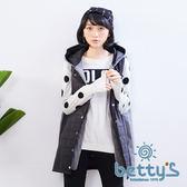 betty's貝蒂思 鋪棉拼接毛料雙層連帽背心外套(黑色)