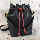 BRAND楓月 FENDI 芬迪 8BT309 黑色 紅繩 束口 水桶包 手提包 兩用包