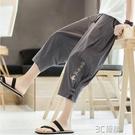 亞麻短褲中國風男褲子夏季薄款寬鬆棉麻七分褲燈籠沙灘褲休閒潮流 3C優購