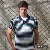 【JEEP】純棉造型配色短袖POLO衫 藍色 (合身版)