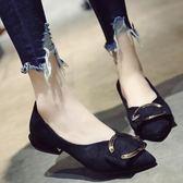韓版淺口尖頭鞋子 金屬扣粗跟加絨低跟鞋子【多多鞋包店】z6698