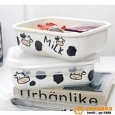 可愛卡通陶瓷奶牛分格飯盒微波爐加熱上班族學生便當日式創意家用品牌【桃子】