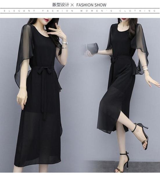 洋裝 大碼 連身裙 禮服 胖mm加肥加大 寬松顯瘦時尚氣質連身裙3F099 韓依紡