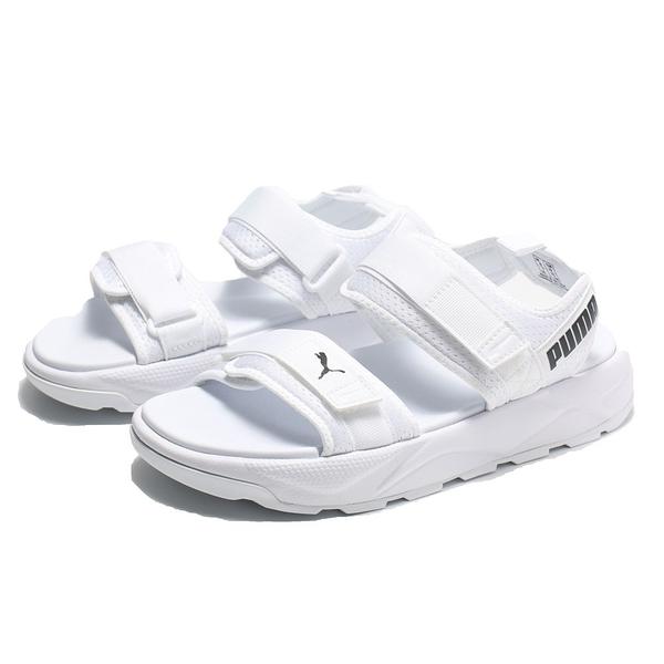 PUMA 涼鞋 RS -SANDAL 全白 黑LOGO 黏帶 魔鬼氈 休閒 女(布魯克林) 37486201