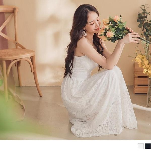 《DA7521-》氣質女神蕾絲雕花細肩帶長洋裝 OB嚴選