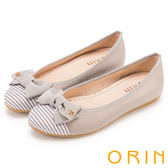 ORIN 微甜新時尚 牛皮拼接條紋布面平底娃娃鞋-灰色