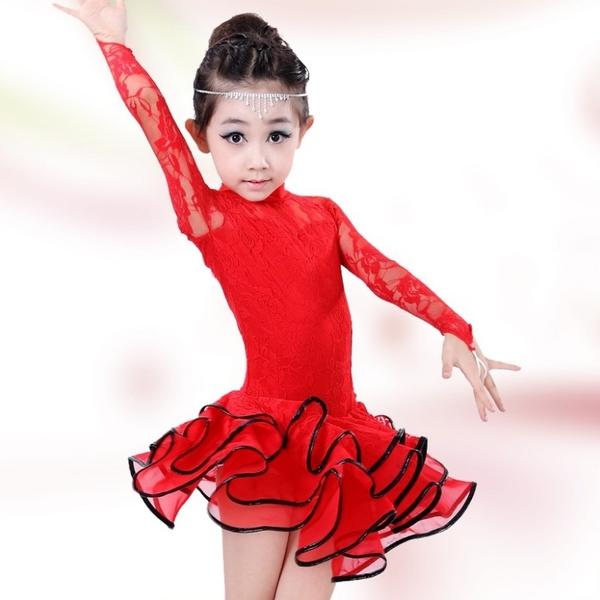 衣童趣♥蕾絲長袖 舞蹈表演服裝 女童 拉丁舞 演出服 比賽服 國標舞衣