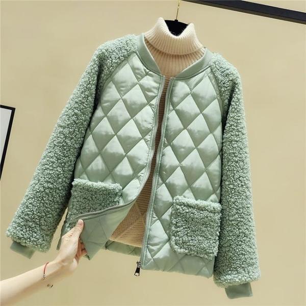 羽絨棉服 羊羔毛棉服女短款秋冬季新款韓版寬鬆棉衣輕薄小棉襖羽絨保暖外套 歐歐
