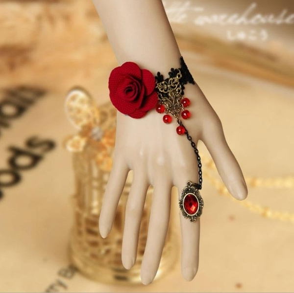 熱銷新品 EVIL LAMOUR日韓簡約個性指環手鏈一體鏈少女禮服裝配飾甜美手鏈