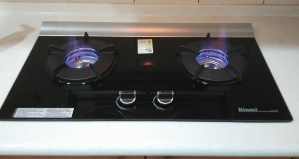 【fami】林內瓦斯爐  RB-201GN檯面式內焰二口玻璃爐(鑄鐵爐架)