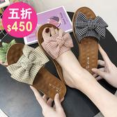 涼鞋 韓系平底蝴蝶結沙灘羅馬鞋 花漾小姐【預購】