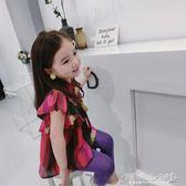 女童上衣 女童短袖襯衣寶寶棉綢娃娃衫兒童不規則多彩撞色襯衫上衣 傾城小鋪