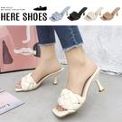 [Here Shoes] 6cm跟鞋 優雅氣質編織 皮革方頭細跟鞋 高跟涼鞋-KW1102