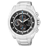 CITIZEN 星辰 一級方程式 鈦金屬光能三眼計時腕錶-黑x銀CA0551-50E