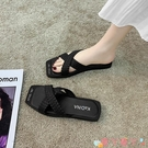 沙灘鞋 外穿拖鞋女夏2021新款韓版個性海邊度假沙灘涼拖鞋女交叉小香拖鞋 愛丫 新品
