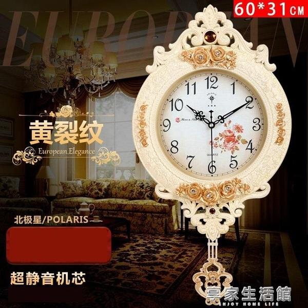 北極星歐式鐘錶創意掛鐘搖擺時尚掛墻掛錶靜音客廳時鐘石英鐘家用-享家