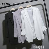 中長款寬鬆雪紡小西裝女chic夏季白色西服大碼防曬衣薄外套空調衫(pink Q 時尚女裝)