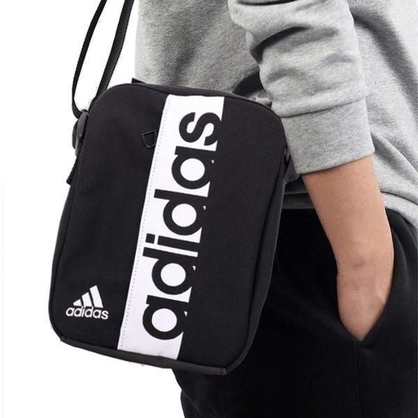 Adidas 黑 側背包 小方包 腰包 斜背包 側背腰包 多夾層 運動 休閒 包包 S99975
