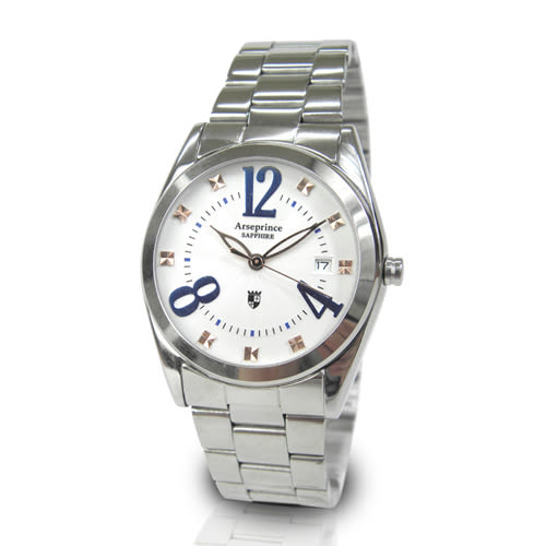 【Arseprince】閃菱星刻時尚中性錶-藍色