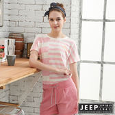 【JEEP】女裝條紋短袖T恤-粉色